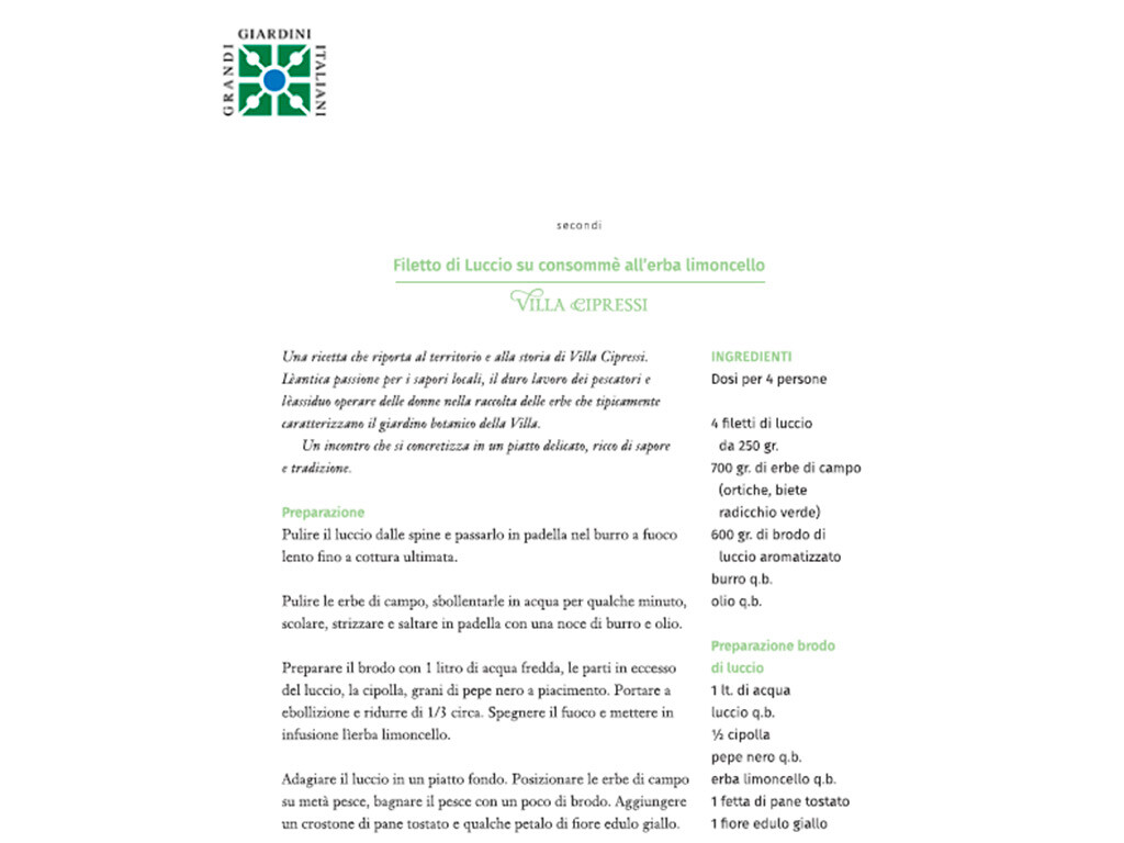 Ricettario Grandi Giardini Italiani